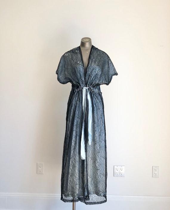 1960s Black Lace Blue Satin Peignoir Panty Set S M