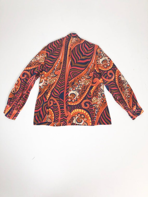 AMAZING 60's Rayon Satin Print Blouse S - image 7