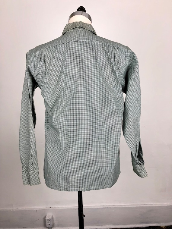 1950s Houndstooth Dunhill Cotton Loop Collar Shir… - image 8