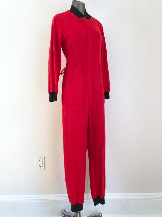1950s Sears Sportswear Red Knit Jumpsuit S M