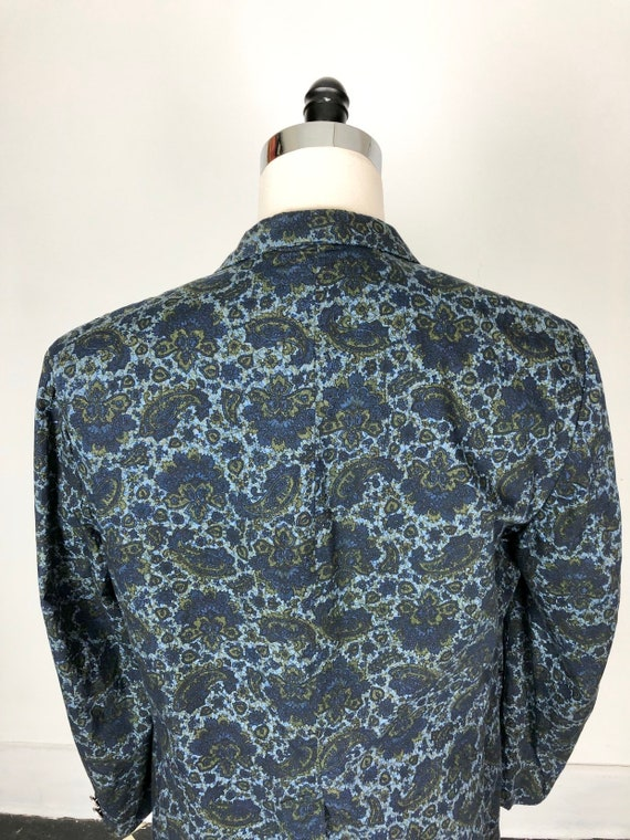 1960s Paisley Print Cotton Dinner Jacket S - image 7