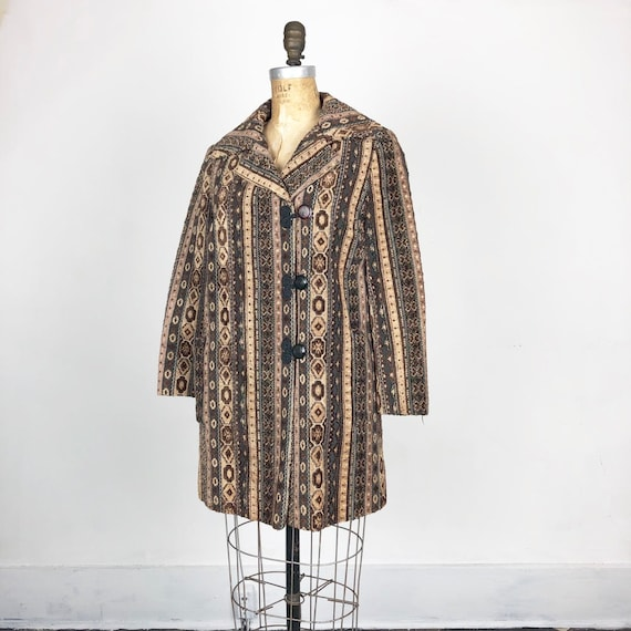 Sweet 1960's Needlepoint Tapestry Coat S