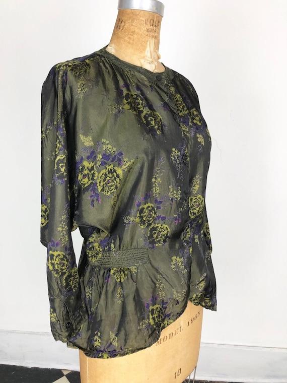 1980s Phool Dark Green Floral Rayon Blouse S M