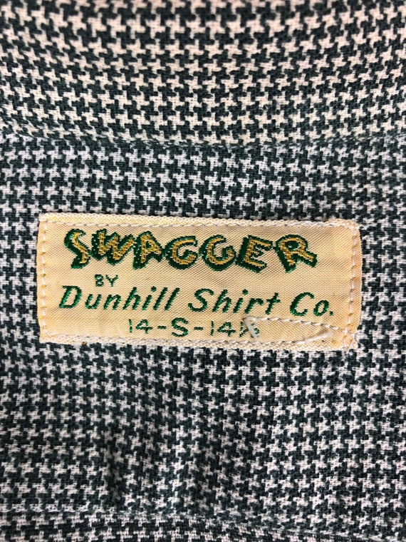 1950s Houndstooth Dunhill Cotton Loop Collar Shir… - image 9