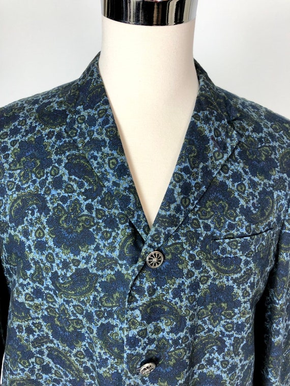 1960s Paisley Print Cotton Dinner Jacket S - image 3