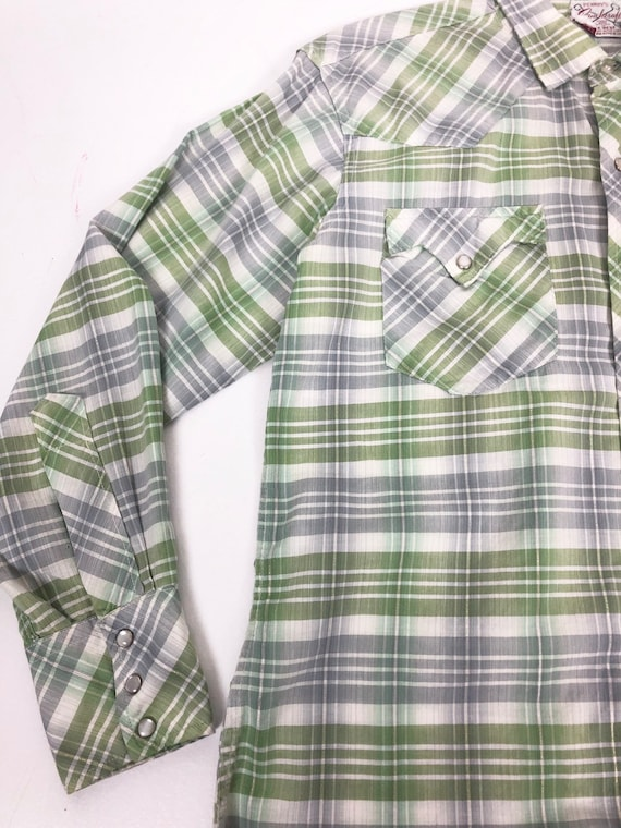 50's Ranchcraft Green Plaid Western Shirt S - image 4