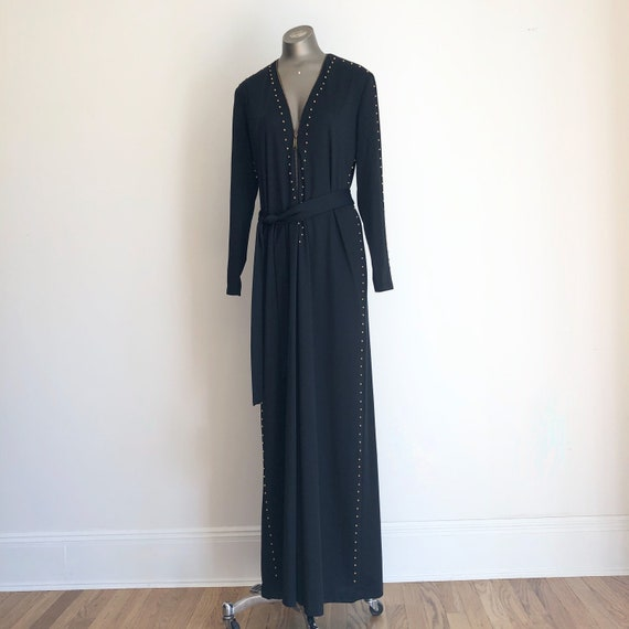 INCREDIBLE 1970s Gold Studded Black Zip Front Jump