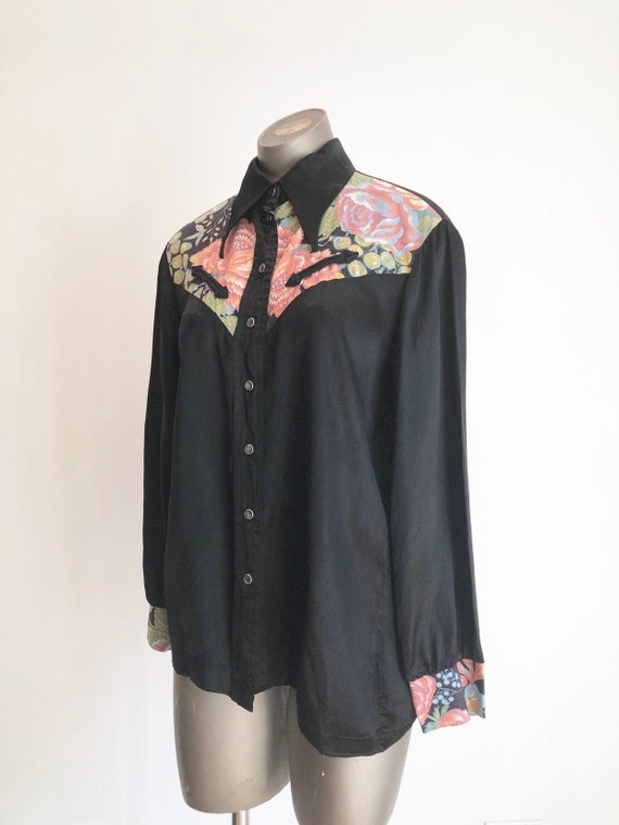 AMAZING 1970s Black Satin Western Shirt w/ Floral