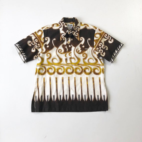 KILLER 1960s Hawaiian Barkcloth Shirt L