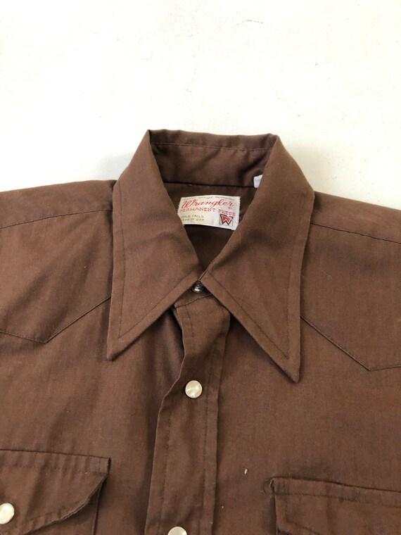 1970's Wrangler Brown Western Snap Shirt S - image 3