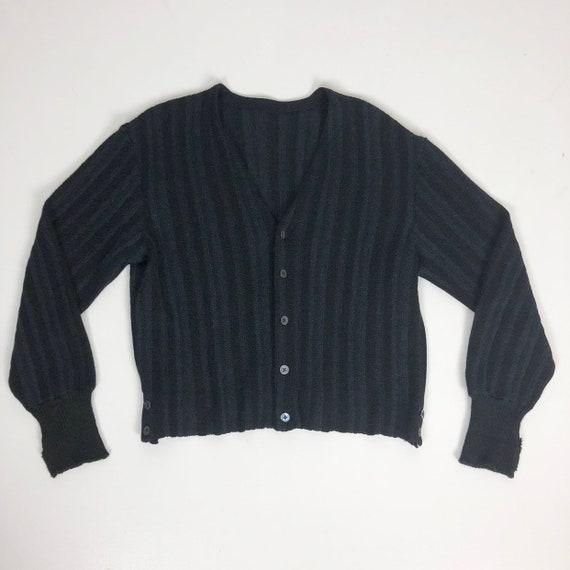 1950s Blue Black Striped Alpaca Cardigan Sweater M
