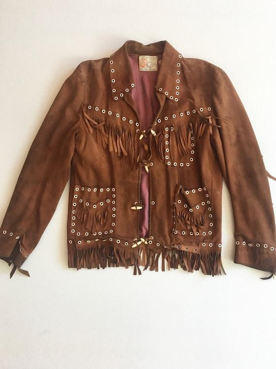 Killer 1940s Suede Fringe Grommet Jacket S M