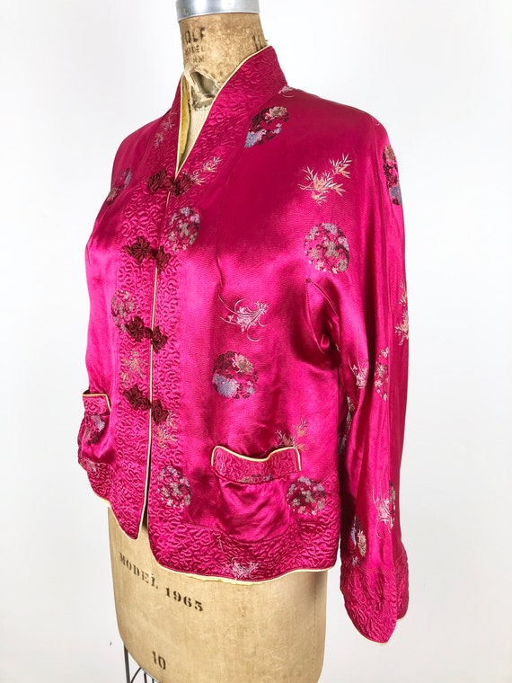 1950's Cherry Red Silk Brocade Chinese Jacket M