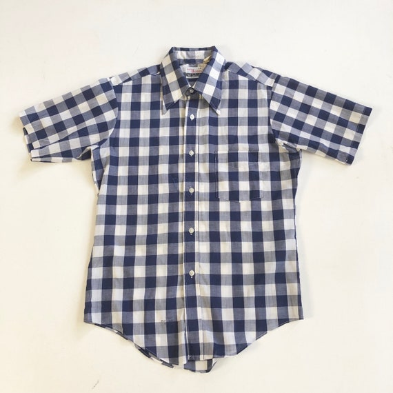 1960's Campus 'Now Breed' Blue Gingham Shirt M
