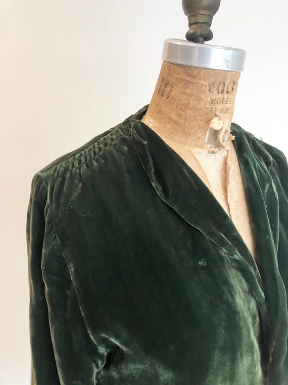 1930s Emerald Green Silk Velvet Jacket S - image 4