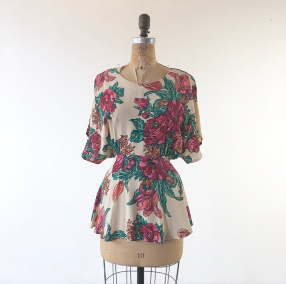 1990's Does 40's Carole Little Floral Rayon Crepe