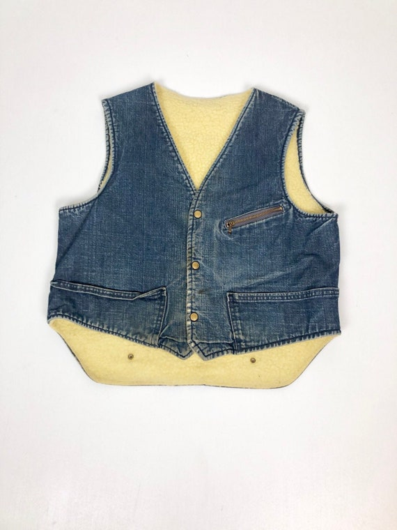 1950s Carters Faux Shearling Denim Vest L