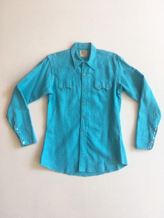 1950s Miller Western Wear Turquoise Cotton Western
