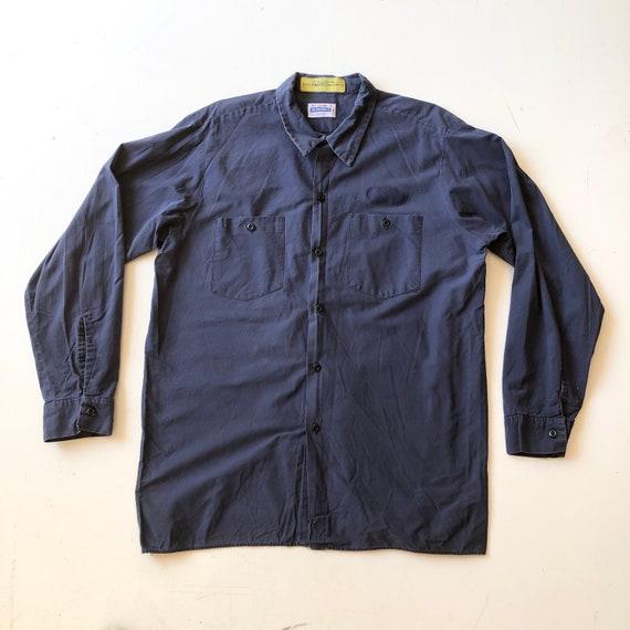 1970's Clayton Blue Grey Work Shirt XL