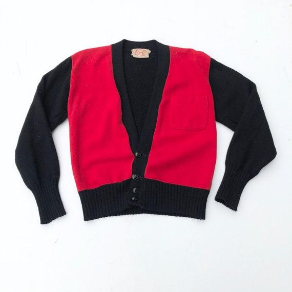 Killer 1950s Red and Black Wool Combo Shirt Jac Ca