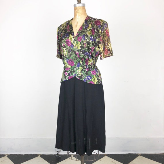 Gorgeous 1940s Floral Rayon Jersey/ Crepe Peplum D