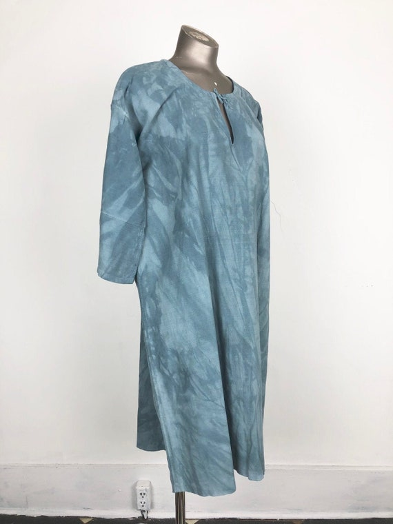 Indigo Dyed Antique French Linen Tunic Dress S
