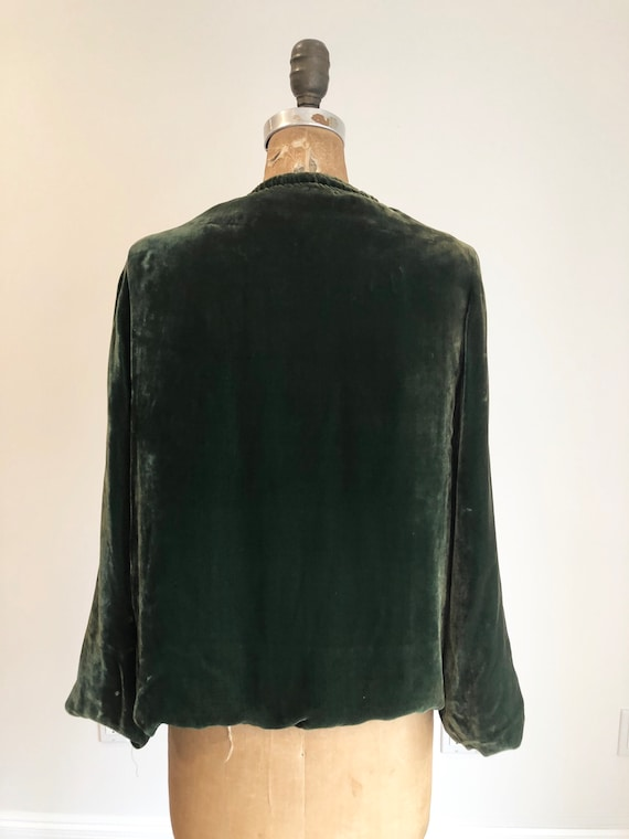 1930s Emerald Green Silk Velvet Jacket S - image 5