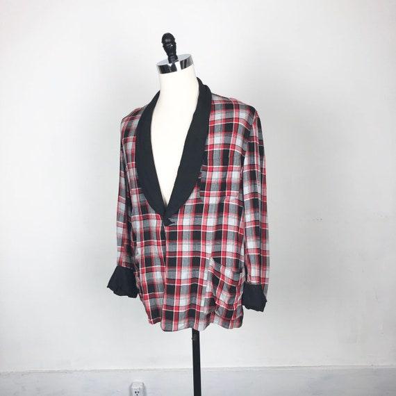 1940s Plaid Rayon Smoking Jacket M