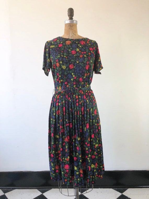 CUTE 1960s Floral Belted Two Piece Dress Set M - image 3