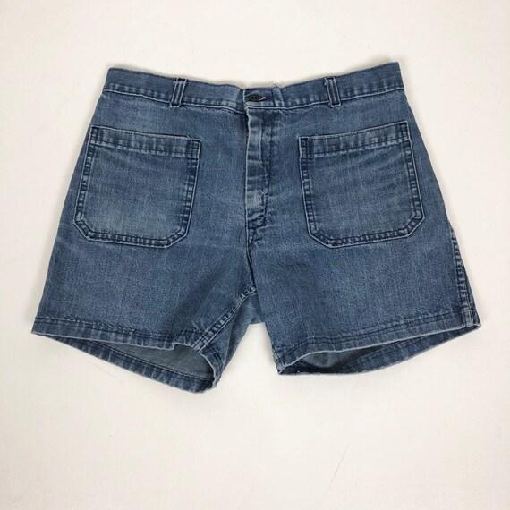 """1970s Naval Dungaree Denim Sailor Shorts 30"""" Waist - image 1"""