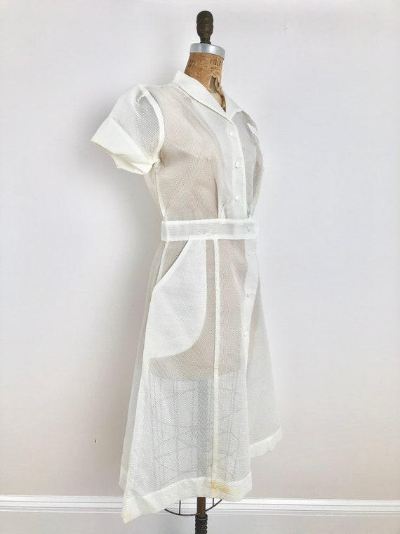 1950s Sheer White Nylon Seersucker Nurse Dress S