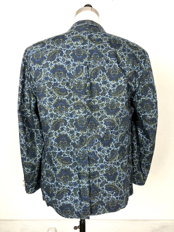 1960s Paisley Print Cotton Dinner Jacket S - image 6
