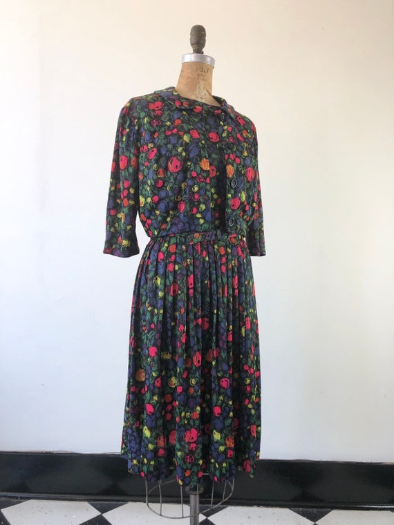 CUTE 1960s Floral Belted Two Piece Dress Set M