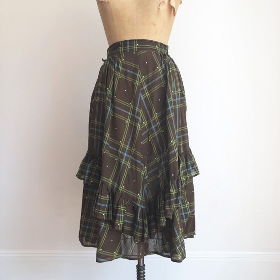 1940s Brown Plaid Cotton Voile Ruffle Skirt S