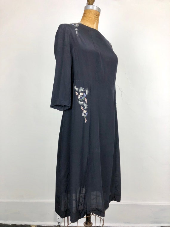 1930s Navy Silk Floral Embroidered Peasant Dress S - image 3