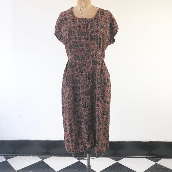CUTE 1940's Novelty Print Brown Rayon Dress M