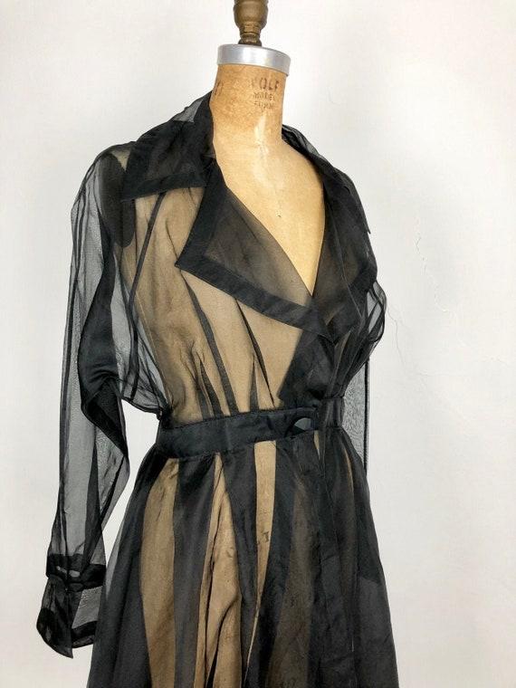 FABULOUS 1950s Black Sheer Organza Peplum Jacket S