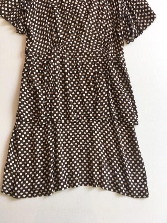 KILLER 1940s Brown Polka Dot Cold Rayon Dress M L - image 3