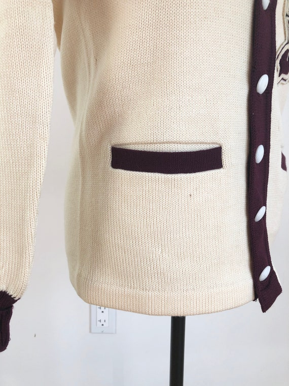 1950s Knight Spartan Patch Varsity Cardigan Sweat… - image 6