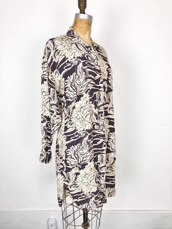 80s Norma Kamali Seahorse Print Rayon Shirt Dress