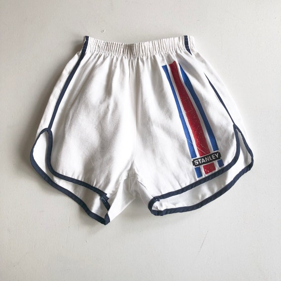 1970s White Cotton Striped Stanley Track Shorts XS