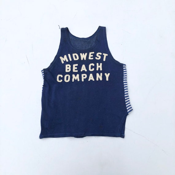 1940s Rayon Jersey Midwest Beach Co Tank S