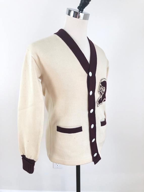 1950s Knight Spartan Patch Varsity Cardigan Sweate