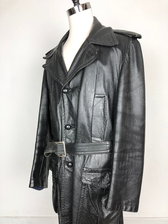 70s Black Leather Belted Trench Coat XL
