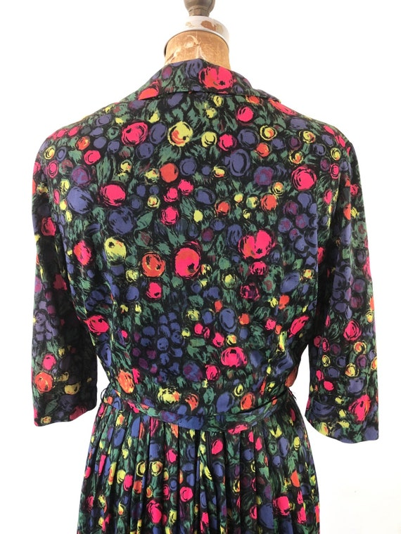 CUTE 1960s Floral Belted Two Piece Dress Set M - image 9