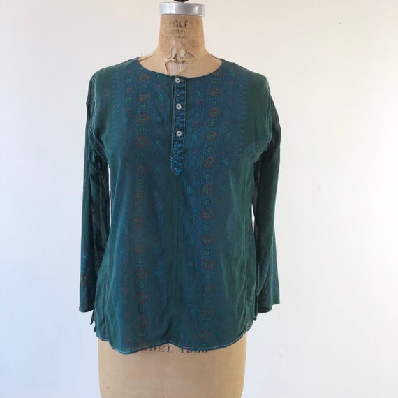 1960's Indian Sheer Green Cotton Blouse S