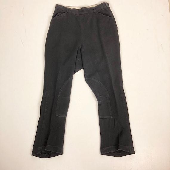 "1940s Black Gabardine Riding Pants Jodhpurs 30"" Wa"