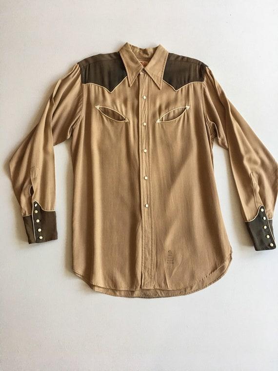 1940s Rayon Gabardine Western Shirt M