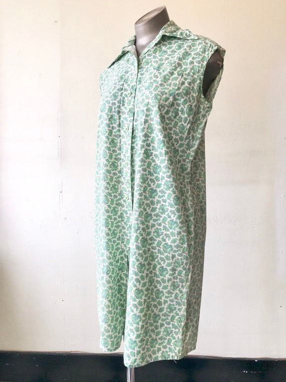 CUTE 1950's Green Paisley Cotton Romper M