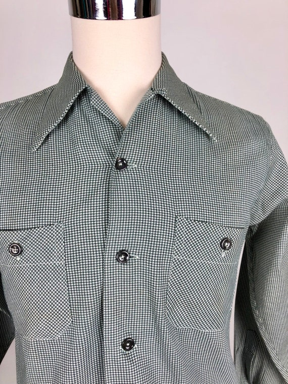 1950s Houndstooth Dunhill Cotton Loop Collar Shir… - image 3